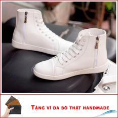 Giày thể thao cao cổ có khóa T518 trắng (V)