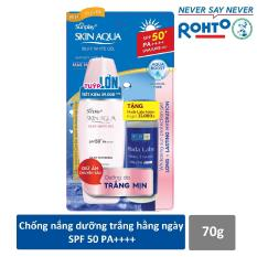 Gel chống nắng dưỡng da trắng mượt Sunplay Skin Aqua Silky White Gel SPF 50+ PA+++ 70g -Tặng 1 Dung dịch dưỡng Hada Labo 40ml