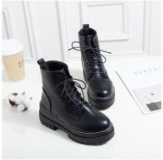 Giày Boot nữ thời trang cá tính,giày boot da cột dây B118