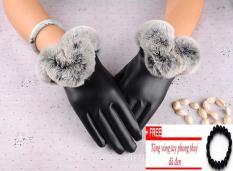 Găng tay da nữ,bao tay da nữ cảm ứng 10 ngón thời trang dành cho nữ-Tặng vòng tỳ hưu thạch anh đen-MMTA01