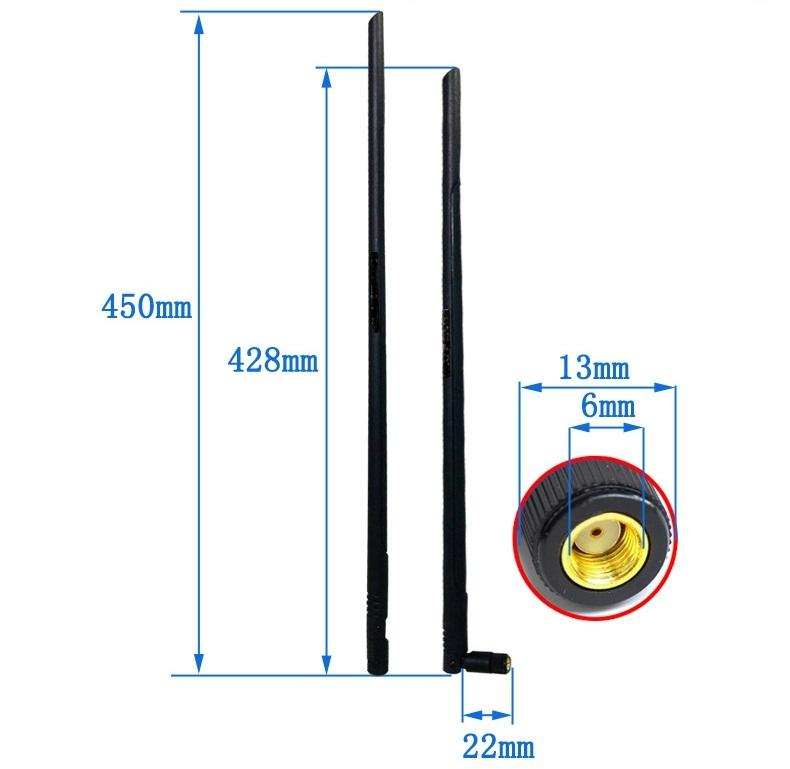 Anten Wifi 2.4Ghz 16dBi đầu nối SMA cái kiểu gập dài 45cm