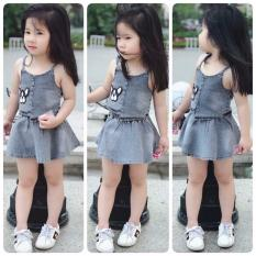 Bộ quần áo trẻ em – set Áo croptop và váy bò cá tính cho bé