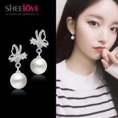 Bông tai Nữ bạc 925 bướm ngọc trai Cao cấp Giá sỉ dễ thương thời trang Hàn Quốc Chất lượng Thương hiệu sheelove SPE-ED294