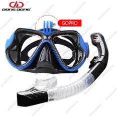 Bộ kính lặn Gopro – BLUE, Ống thở van 1 chiều ngăn nước, mắt KÍNH CƯỜNG LỰC, gắn được Gopro, SJCAM, Camera hành trình – DONGDONG
