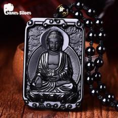 Mặt Dây Chuyền Phật A Di Đà Bản Vuông Chất Liệu Đá Obsidian Cao Cấp – Ganes Silver