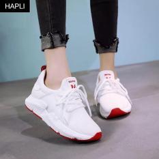 Giày sneaker nữ thời trang Pp hai lớp khỏe khoắn HAPLI (Đen, Hồng, Trắng)