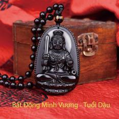 Dây chuyền mặt Phật Bản Mệnh Bất Động Minh Vương cho tuổi Dậu mang lại may mắn, năng lượng, thành công bằng đá thủy tinh núi lửa Obsidian tự nhiên