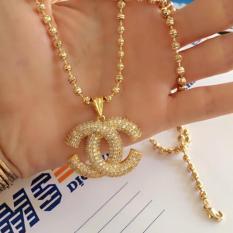 Dây chuyền,vòng cổ mạ vàng 24k kèm mặt x đính đá cao cấp (Dây Bi – Mặt chữ x đính đá)