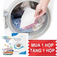 Mua 1 Tặng 1. Giấy giặt hút màu quần áo, chống loang màu nhuộm và làm sạch quần áo. Giấy loại lớn 28 x 11 cm