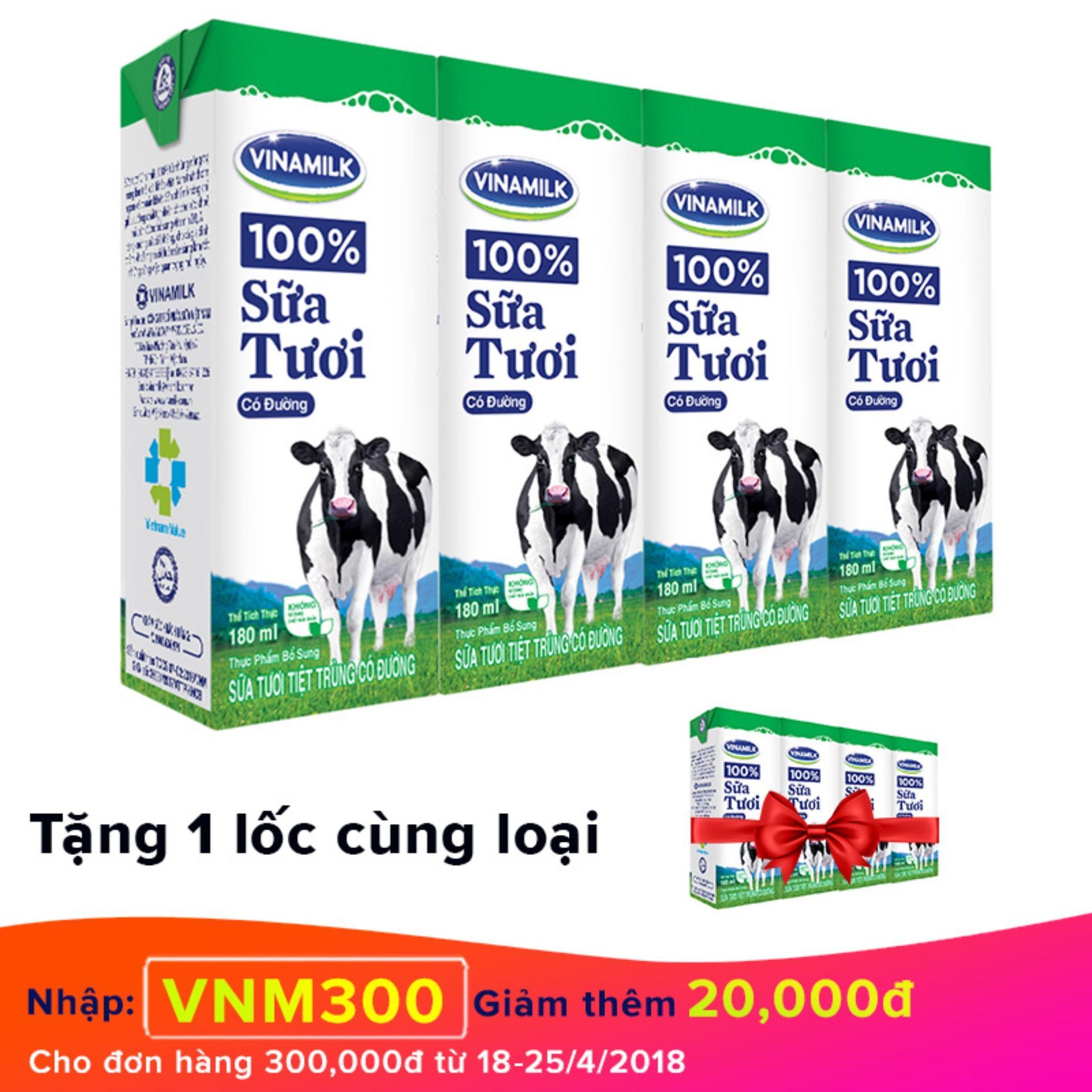 Thùng 48 hộp sữa tươi Vinamilk 100% có đường 180ml + Tặng 1 lốc cùng loại