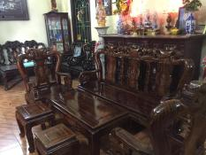 Bộ bàn ghế minh quốc đào gỗ xoan ta PU giả mun Tay 10