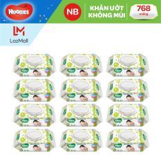 Bộ 12 gói khăn giấy ướt cho trẻ sơ sinh HUGGIES (Gói 64 tờ)