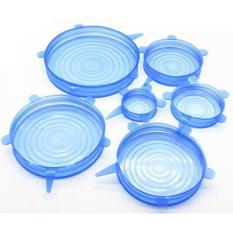 Bộ 6 miếng màng bọc thực phẩm co giãn Silicone an toàn cho sức khỏe – Màu xanh