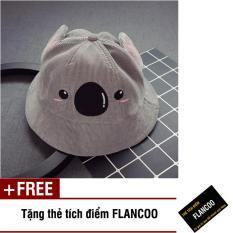 Nón vành hình gấu vải jean thời trang bé trai Flancoo 1712 (Xám) + Tặng kèm thẻ tích điểm Flancoo