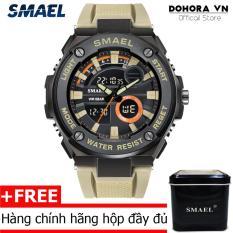 Đồng hồ nam quân đội Smael DR3 dual time viền kim loại siêu bền dây cao su(Có bảo hành)