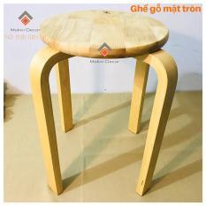 Ghế gỗ mặt tròn chân dẹp (TỰ NHIÊN) – ghế phòng ăn -ghế cafe gỗ PHONG CÁCH MỘC