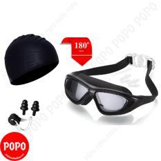 Kính bơi tầm nhìn rộng 180 độ, mũ bơi trơn, bịt tai kẹp mũi mắt kính chống tia UV chống sương mờ LEPIN