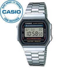 Đồng hồ unisex dây thép không gỉ Casio A168WA-1WDF
