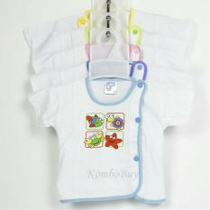 Áo sơ sinh bosini ngắn tay màu trắng cúc lệch đủ size cho bé trai, bé gái từ 0-12 tháng
