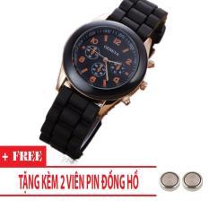 Đồng hồ nữ dây silicon Geneva Khởi My giá rẻ (Dây Đen, Mặt Đen) + Tặng Kèm Pin