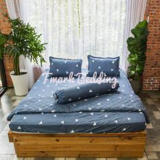 Bộ ga gối giường Cotton Poly Tmark (Tam giác trắng nền xám)
