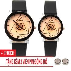 Đồng hồ cặp dây da Thạch Anh Tam Giác TimeZone (Dây Đen, Mặt Xám) + Tặng Kèm Pin