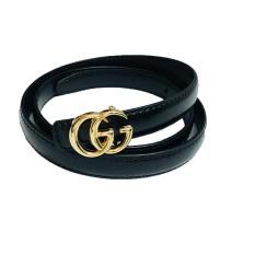 Dây thắt lưng nữ da xịn mặt GG chạm vàng cao cấp GG02 (màu đen)