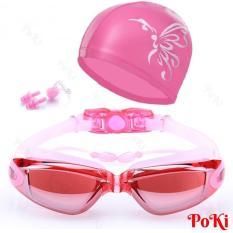 Bộ kính bơi tráng GƯƠNG 6615 – gồm Mũ bơi, Bịt tai kẹp mũi thời trang cao cấp – POKI