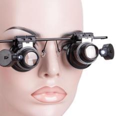 Kính lúp 2 mắt phóng đại 20 lần có đèn Led dùng trong sửa chữa Làm Đẹp