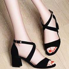 [ẢNH THẬT] Giày cao gót sandal 7 phân quai bản chéo gót Đen- Kem SD03