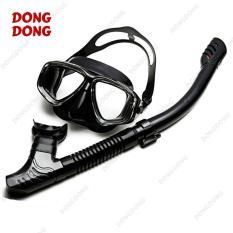 Bộ kính lặn Ống thở S301 – FULL BLACK, mắt KÍNH CƯỜNG LỰC, ống thở van 1 chiều ngăn nước cao cấp – DONGDONG