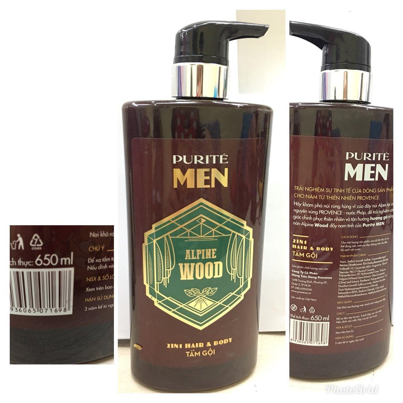 Sữa tắm Gội Cao cấp Purité Men 650ml Hương Gỗ và Hương Biển Quyến rũ Nam Tính