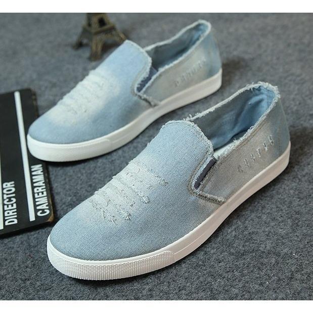 Giày luời vải bò thời trang nam - GB3 ( xanh )