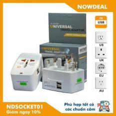 Ổ Cắm Điện Đa Năng Du Lịch có 2 cổng sạc USB Universal Travel Adapter