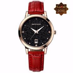 Đồng hồ nữ SANDA JAPAN Mặt kim tuyến siêu sang SA194 – Dây đỏ. Tặng vòng đeo tay thạch anh