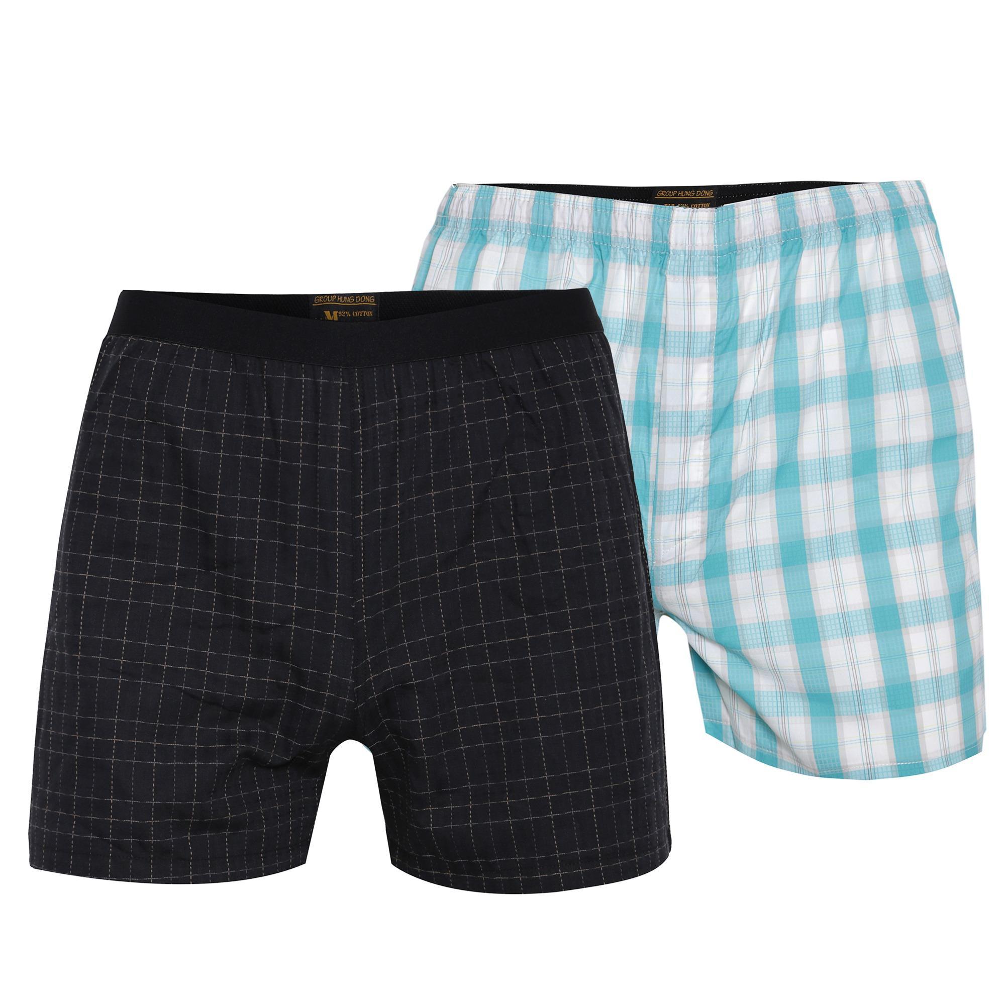 Combo 2 quần đùi mặc nhà cvring qd021 (đen, xanh da)