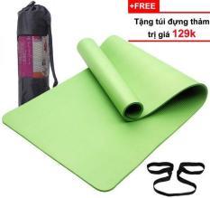 Thảm Tập Yoga Cao Cấp Hàn Quốc TPE (Tặng Kèm Túi Đựng + Dây Buộc Thảm) – Cao su non siêu bền, dày 8mm (màu tím)