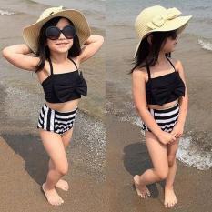 Đồ bơi bé gái từ 1-11 tuổi cân nặng 7-26kg Áo nơ váy kẻ sọc đen trắng Decoshop68