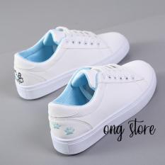 Giày thể thao nữ giày sneaker nữ thêu mèo xinh xắn (mèo xanh)