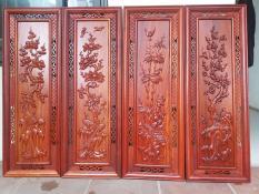 tranh tứ quý gỗ hương kích 108cmx38cm
