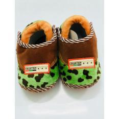 Giày tập đi đế bệt vải nhung – Baby Classic (Nâu- Xanh lá)