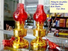 Cặp Đèn dầu đỏ cắm điện bóng cà na cao 20cm-Có video sản phẩm