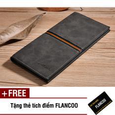 Bóp ví nam dài da PU thời trang Flancoo S0291 (Đen) + Tặng kèm thẻ tích điểm Flancoo