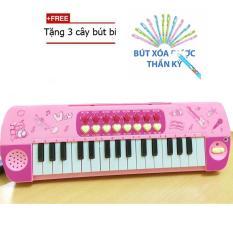 (TẶNG 3 BÚT BI THẦN KÌ)Đàn Piano 32 phím kèm micro cho bé (Hồng)