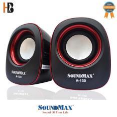 Loa vi tính Soundmax A-130/2.0 6W RMS (Đỏ) – Hàng chính hãng