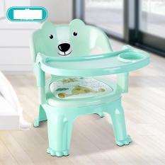 Ghế ăn dặm hình gấu 2 trong 1 có đệm (xanh) – (BQ340-XANH)