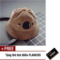 Nón vành hình gấu vải jean thời trang bé gái Flancoo 1714 (Nâu) + Tặng kèm thẻ tích điểm Flancoo