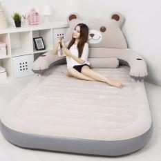 Bộ sản phẩm giường hơi gấu (1m5 Xám) Tặng kèm bơm điện, gối, bịt mắt, bịt tai, keo và miếng vá