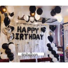 SÉT trang trí sinh nhật HPBD tông TRẮNG ĐEN + 2 RÈM + 10 BÓNG NHÔM TO có tặng phụ kiện