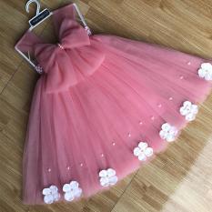 váy tutu công chúa hồng cam cho bé